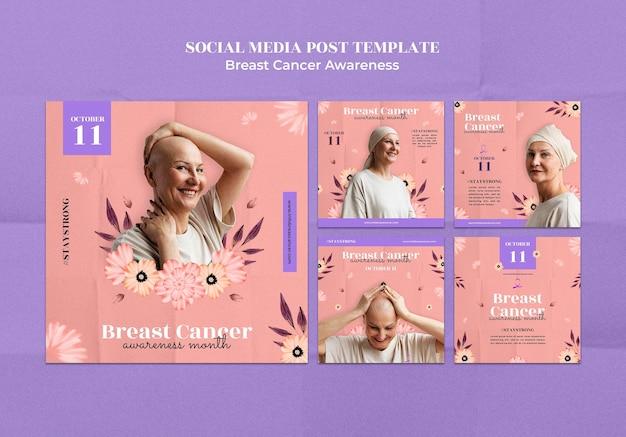 Designvorlage für social-media-beiträge zur sensibilisierung für brustkrebs