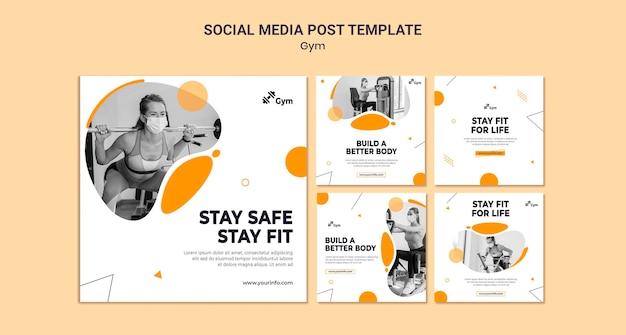 Designvorlage für social-media-posts im fitnessstudio