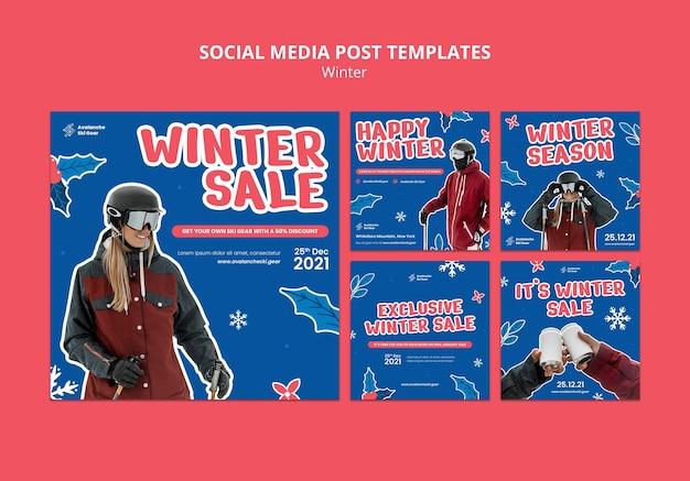 Designvorlage für social-media-posts im winterverkauf