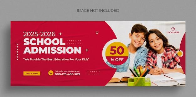 Designvorlage für social-media-posts oder facebook-titelfotos für den schuleintritt