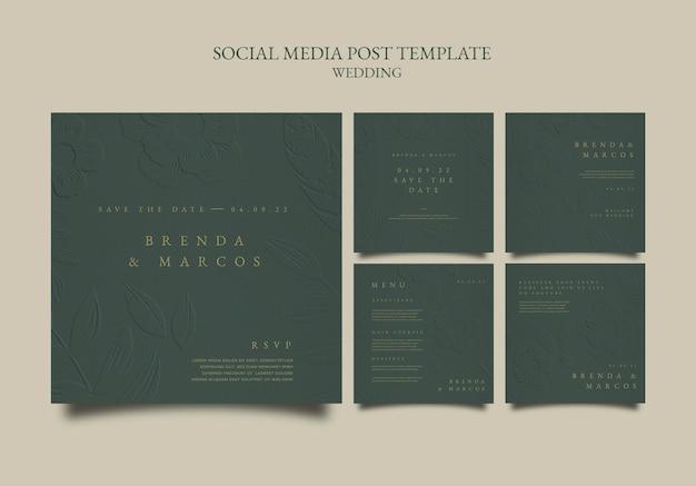 Designvorlage für social-media-posts zur hochzeit