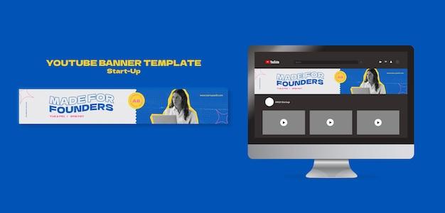 Designvorlage für youtube-bannerkarten für startups