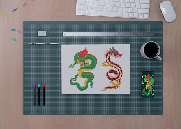 Desktop-konzeptansicht mit werkzeugen