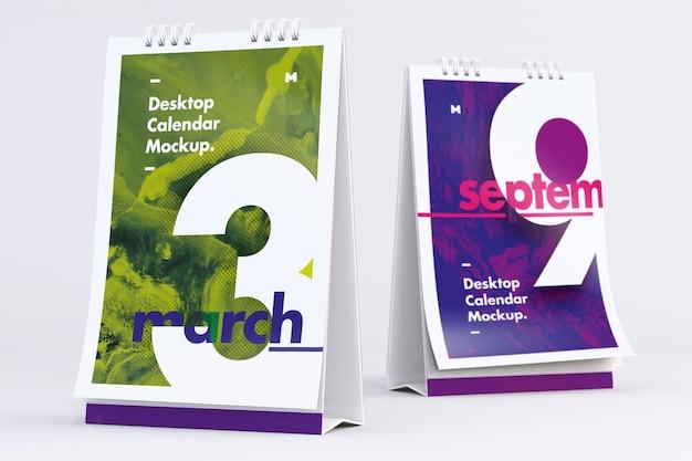 Desktop portrait kalender mockup vorder- und rückansicht
