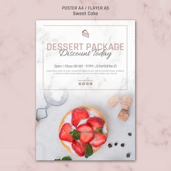 Dessert paket rabatt heute kuchen poster vorlage
