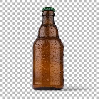 Detailansicht kaltes bier mit brauner flasche isoliert.