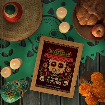 Dia de muertos rotes modell, umgeben von dekorativen elementen