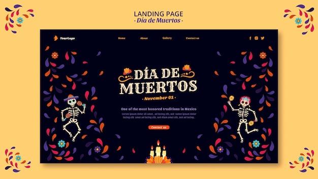 Dia de muertos skelette und konfetti landing page