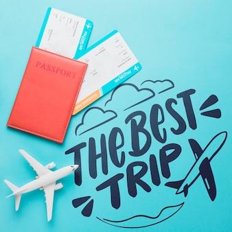 Die beste reise, motivbeschriftungszitat für reisendes konzept der feiertage