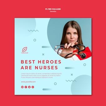 Die besten helden sind die quadratischen flyer-vorlagen für medizinische dinge