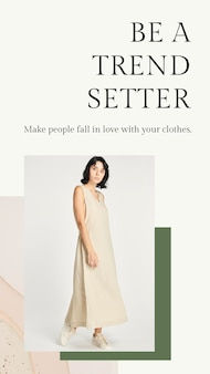Die erdfarbene modevorlage für frauen als psd für die social-media-geschichte