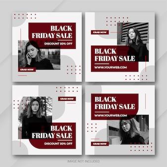 Die instagram-post-bundle-vorlage der black friday campaign