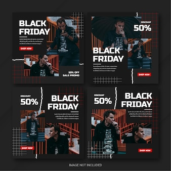Die instagram-post-bundle-vorlage der black friday campaign