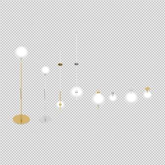 Die isometrischen lokalisierten lampen 3d übertragen