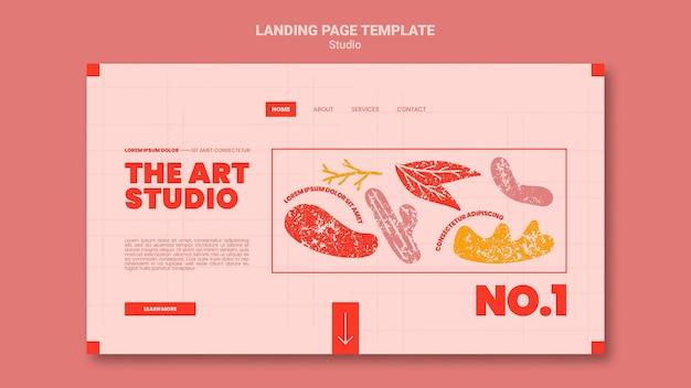 Die landingpage-vorlage für das kunststudio