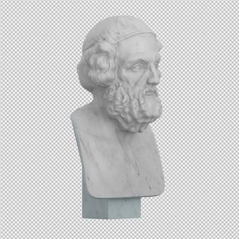 Die statue 3d des alten mannes, die lokalisiert wird, übertragen