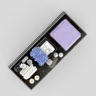 Die tücher auf einem holzregal 3d, das lokalisiert wird, übertragen