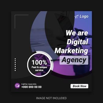 Digital business marketing social media post & square flyer