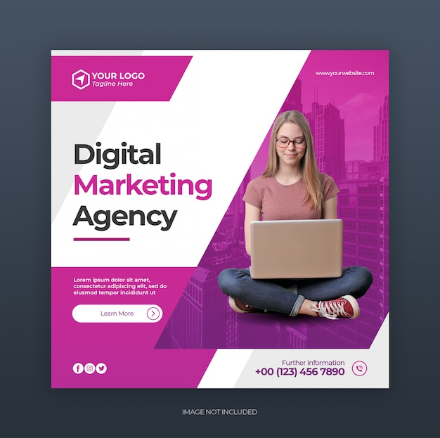 Digital creative business marketing instagram post oder anzeigen banner vorlage