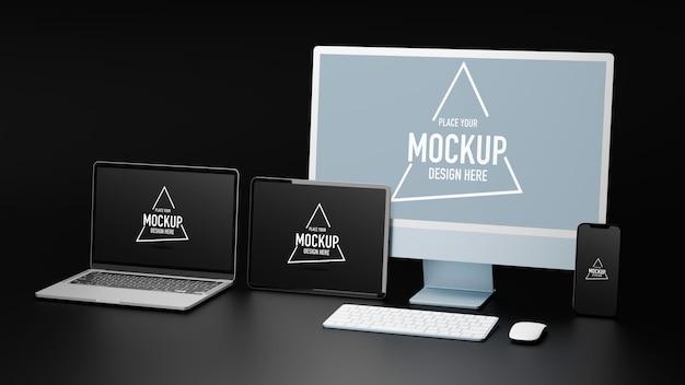 Digitale geräte mit tablet-computer und smartphone-mockup-bildschirm 3d-rendering