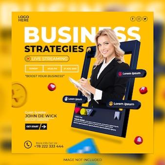 Digitale marketing-geschäftsstrategien und vorlage für social-media-beiträge für unternehmen