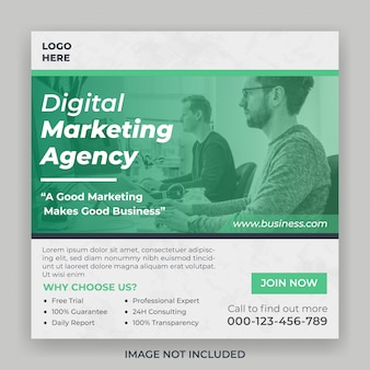 Digitale marketingagentur für social media square banner vorlage