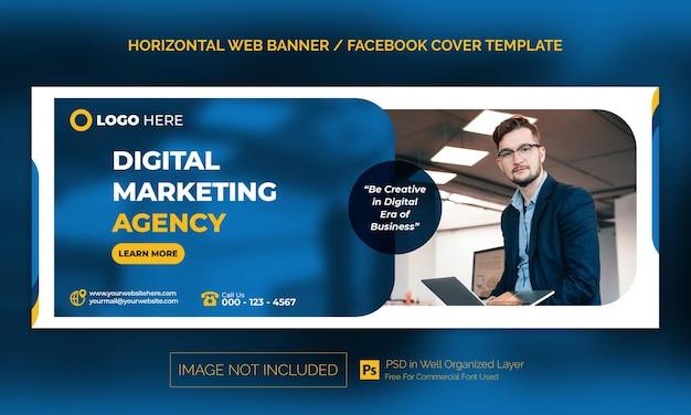 Digitale marketingagentur horizontales firmenbanner oder facebook-cover-werbevorlage