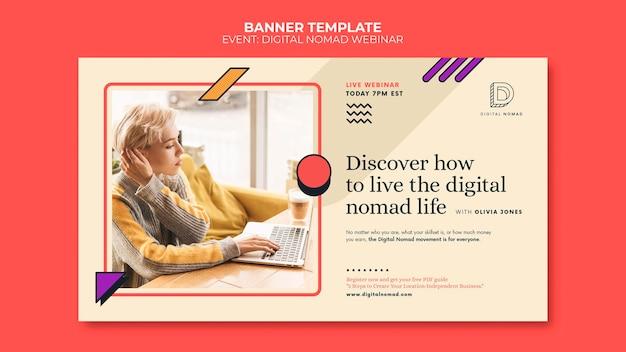 Digitale nomaden-banner-vorlage