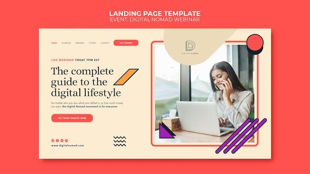 Digitale nomaden-landingpage-vorlage