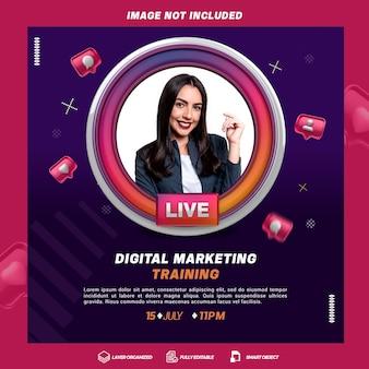 Digitale trainingsmarketingvorlage des kreativen konzepts mit live-rahmen