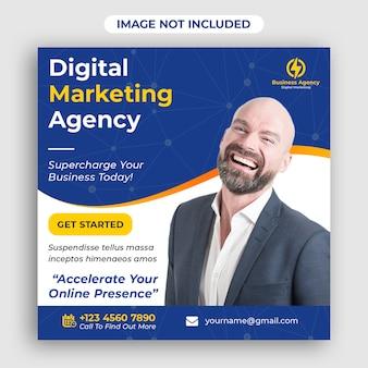 Digitales geschäftsmarketing-social media-fahnenquadrat