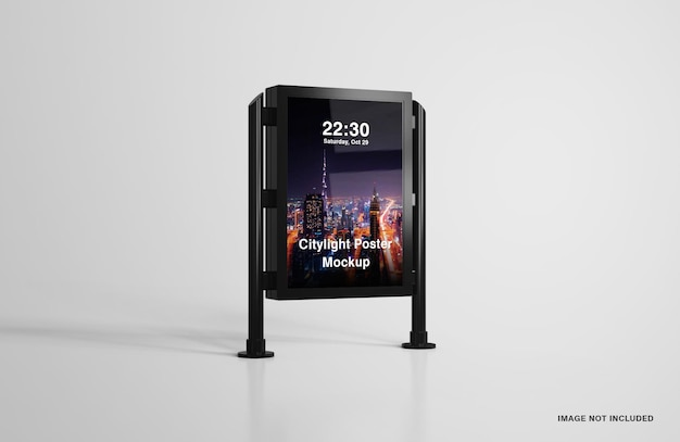 Digitales led city light poster mockup