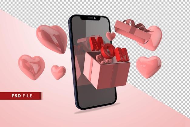 Digitales liebeskonzept für muttertag mit geschenkbox rotem herz 3d rendern