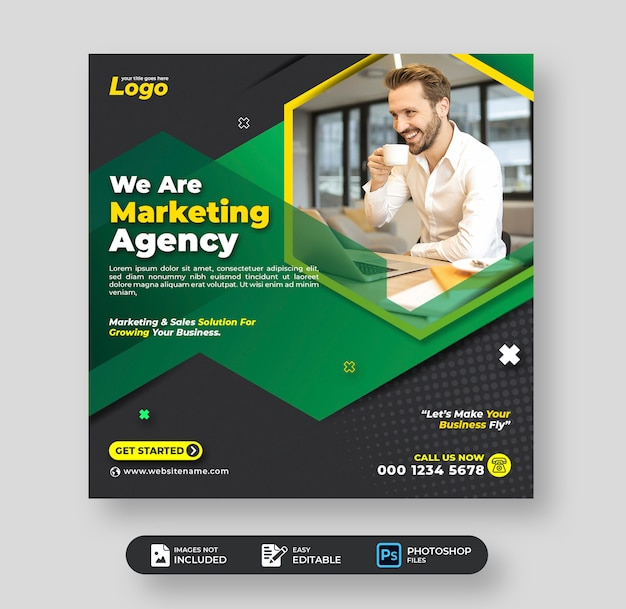 Digitales marketing corporate business social media post-vorlage