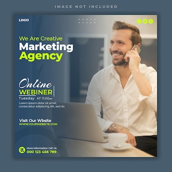Digitales marketing corporate social media live-webinar und instagram-post-banner-vorlage