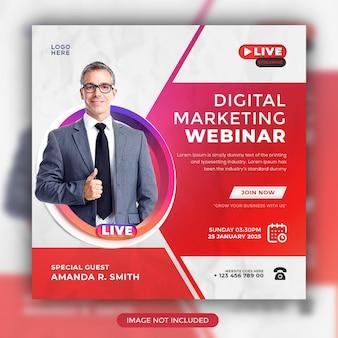 Digitales marketing-live-webinar und vorlage für social-media-beiträge für unternehmen