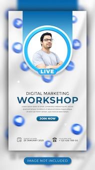 Digitales marketing live-webinar und workshop social media story-vorlage für facebook und instagram