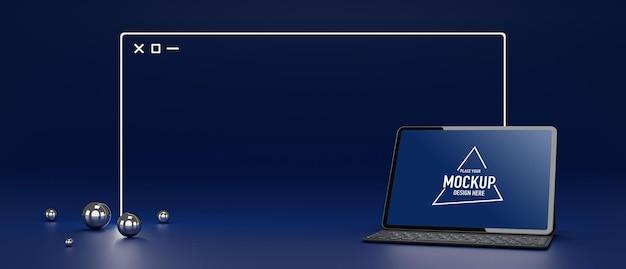Digitales tablet mit mockup-bildschirm und isolierter kabelloser tastatur