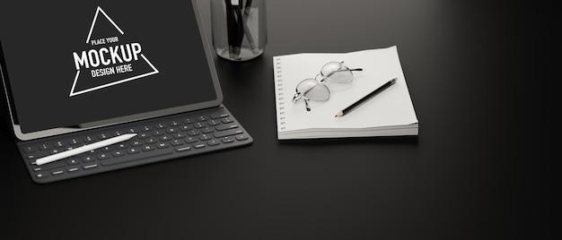 Digitales tablet mit mockup-bildschirmzubehör