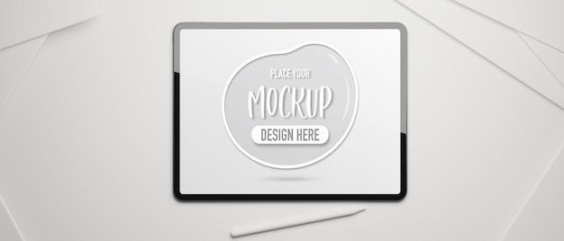 Digitales tablet mit modellbildschirm und stift auf weißem 3d-rendering der schreibtisch-draufsicht