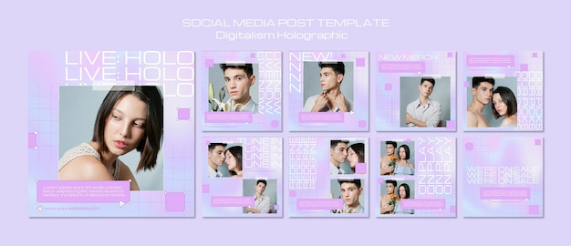 Digitalismus holographischer social-media-beitrag