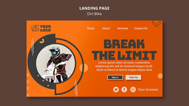 Dirt bike vorlage landing page