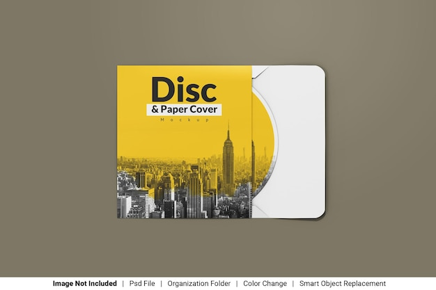 Disc with paper cover mockup