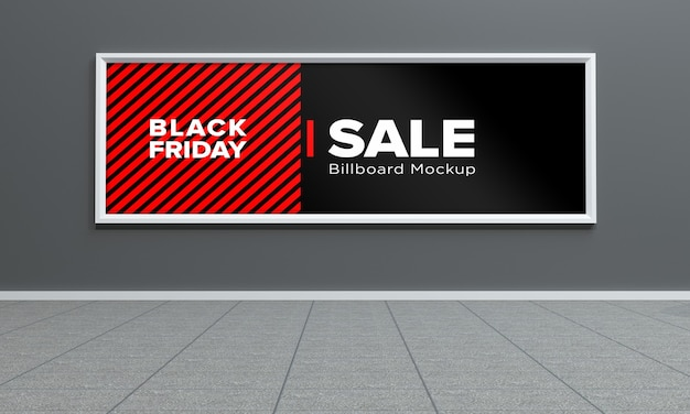 Display sign mockup im einkaufszentrum mit black friday sale banner