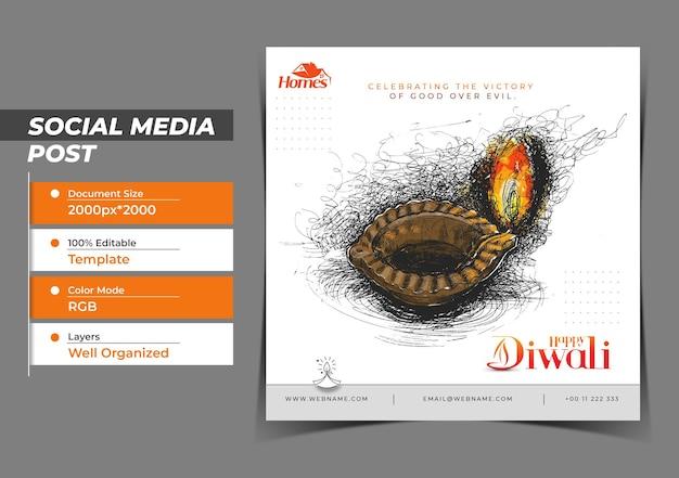 Diwali festival digitales konzept instagram und social media post
