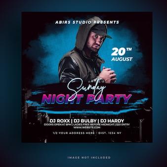 Dj party event flyer vorlage social media poster