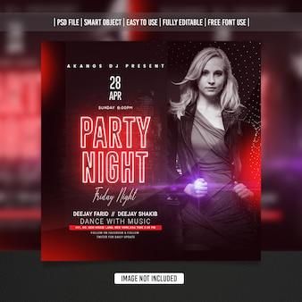 Dj party flyer social-media-beitragsvorlage premium psd