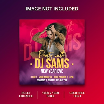 Dj-party-flyer-social-media-post und web-banner-vorlagendesign premium