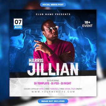 Dj party music square flyer und social media post vorlage
