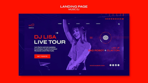Dj set livestream landing page vorlage